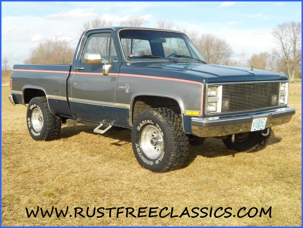 Pickup 86 chevy pickup : 86 K10 Short Bed SWB Silverado 4x4 1986 Chevy Blue Silver
